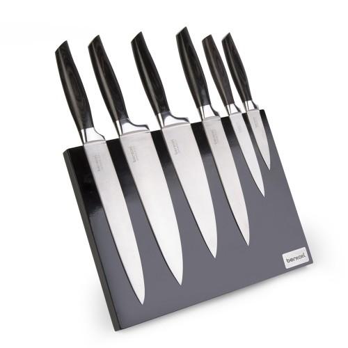 سرویس چاقو با دستۀ چوبی و پایۀ آهن ربایی (7 پارچه)